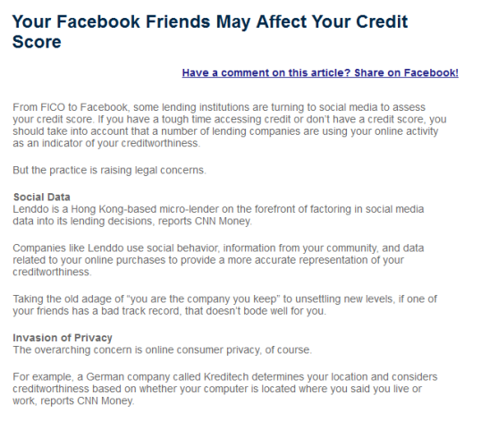 Your credit score and Facebook