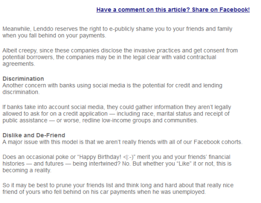 Facebook and your credit, pg. 2